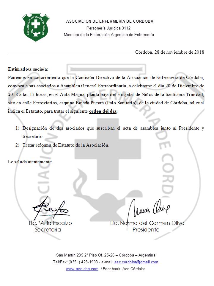 20 Diciembre - Asamblea General Extraordinaria