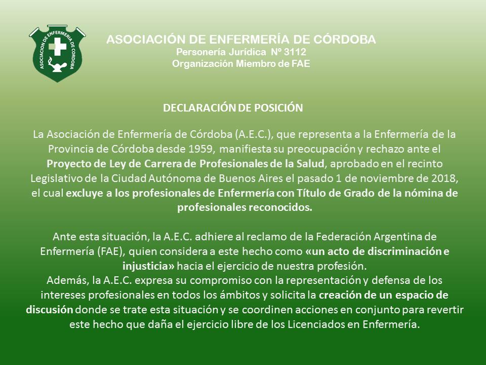 Declaración de posición de la AEC ante la Aprobación del Proyecto de Ley de Carrera de Profesionales de la Salud