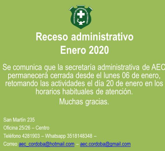 Receso administrativo – Enero 2020